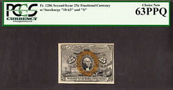 25 Cents Fr 1286 Second Issue Fractional Currency 18-63 And S Ch Unc Pcgs 63 Ppq