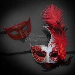 Couples Masquerade Masks Feather Masquerade Mask Red