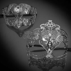 Couples Silver Masquerade Masks