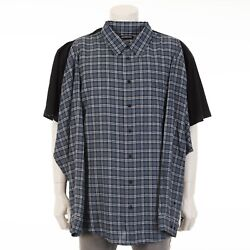 Balenciaga 1290 Oversized Combo Black Cotton T-shirt With Blue Checked Flanel
