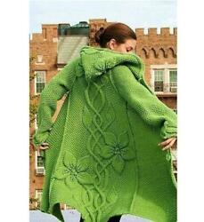 Long Hooded Knit Coatpoinsettias - Cloaked In Mysteryhooded Coat Knitted