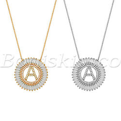 A Z Alphabet Initial Letter Necklace Rhinestone CZ Pendant Gift For Women Girls
