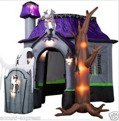 10ft New Halloween Inflatable Haunted House With Led Lights For Decoration