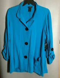 """NWT Ali Miles 34"""" Sleeve Blue Womens Tunic  Shirt with Black Buttons 1X"""