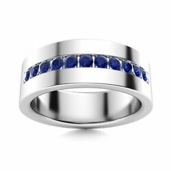 6 Mm Mens Natural Blue Sapphire Half Wedding Band In 14k White Gold Solid Ring