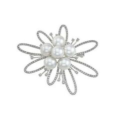 3.88ct NATURAL ROUND DIAMOND 14K SOLID WHITE GOLD PEARL GEMSTONE BROOCH PIN