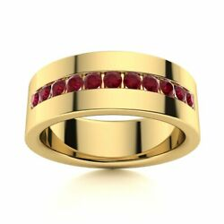 6 Mm Mens Natural Aaa Ruby Half Wedding Band In 14k Yellow Gold Solid Ring