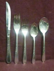 5 Pc Place Setting Silverplate Vintage Wm Rogers And Son Spring Flower