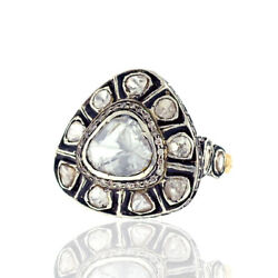 Natural Polki Diamond 925 Sterling Silver Vintage Ring 14k Gold Women Jewelry
