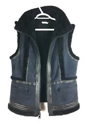 Vince Leather And Shearling Trimmed Suede Moto Vest Two Tone Medium