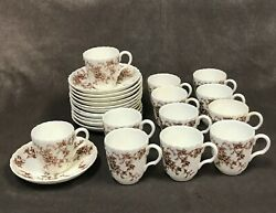 12 - Minton England Bone China Ancestral S-376 Brown Demitasse Cup And Saucer Sets