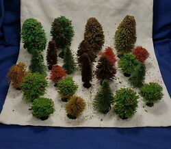 Vintage Bottle Brush Christmas Trees And Bushes Train Sets Scenes Lot Of 23 1960s