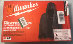 Large M12 12v Lithium-Ion Cordless Heated Quilted Jacket Kit Gray Rainshell (N)