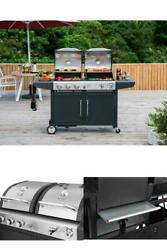 Propane Gas 3 Burner And Charcoal Combo Grill Outdoor Cooking Stainless Steel