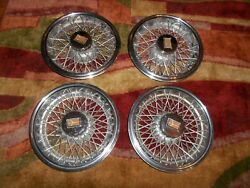 Very Nice Set Of 4 Oldsmobile Wire Spoke Hub Caps 14 Wheel Cover W/mount Guard