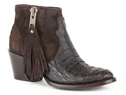Stetson Womens Brown Caiman Paris 5in Chocolate Rough Out Cowboy Boots