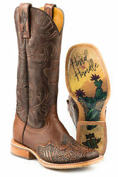 Tin Haul Womens Brown Leather Cactooled Cowboy Boots