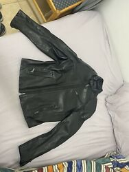 Mens Black Label Rl Motorcycle Leather Jacket Small