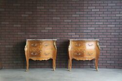 Antique Rococo Marble Top Nightstands ~French Provincial Bedside Chests ~ A Pair