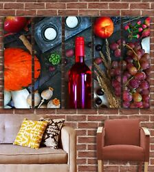 Red Wine Kitchen Wall Art Decor Picture Painting Print for Kitchen Dining Room