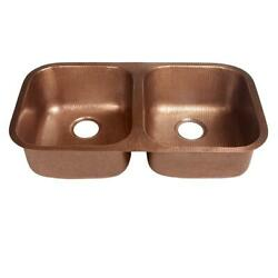 Handcrafted Solid Copper 32 Double Bowl Kitchen Sink, Antique Copper Undermount