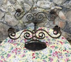 Antique French Wrought Iron Hand Forged Wall Sconce Castle Candle Holder Mirror