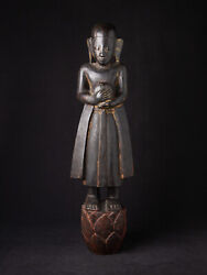Antique Wooden Monk Statue From Burma 18th Century