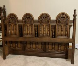 Broyhill Pacemaker Queen Size Headboard Bed Vintage Mid Century Modern Spanish