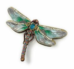 Kubla Crafts Enameled Green Dragonfly Trinket Box, Accented With Austrian...