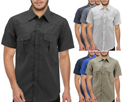 Menandrsquos Pearl Snap Button Down Western Short Sleeve Casual Cowboy Dress Shirt