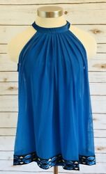 ICE Women Sleeveless Pull Over Casual Blue Shirt Top Size 4 $11.50