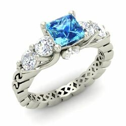 Certified 1.50 Ct Princess-cut Blue Topaz And Diamond 14k Gold Vintage Look Ring