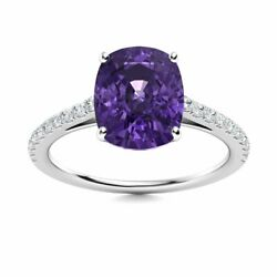 Certified 9 X 7mm Cushion Cut Amethyst And Diamond 14k White Gold Engagement Ring