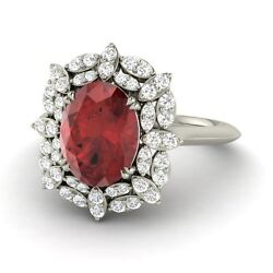 2.25 Ct Garnet And Diamond Cluster Engagement Wedding Ring In 14k White Gold