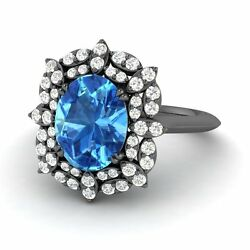 Certified 2.60 Ct Blue Topaz And Diamond Engagement Wedding Ring In 14k Black Gold