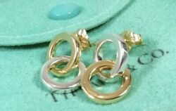 And Co Sterling Silver 18k Yellow Gold Interlocking Circles Stud Earrings