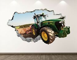 Green Tractor Wall Decal Art Decor 3d Smashed Truck Kids Room Sticker Bl189