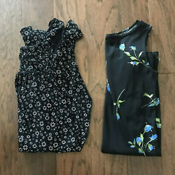 Set of 2 Teen Dresses Black Flower Size Small