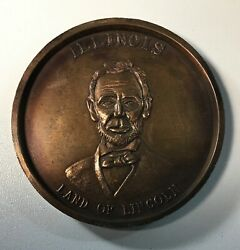 Large Vintage Abraham Illinois Land Of Lincoln Lucky Penny Medal