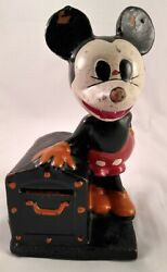 Mickey Mouse Treasure Chest Bank - Crown Toy, No Key, 1930s, No Re-paints