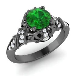 Certified 1.28 Ct Emerald And Diamond 14k Black Gold Vintage Engagement Ring