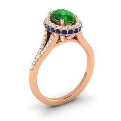 10k Rose Gold 1.81ctw Emerald Sapphire Diamond Halo Solitaire Engagement Ring