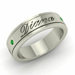 6.5mm Certified Real Emerald Personalized Engraved Name Men's Ring In Platinum