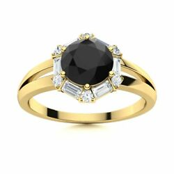 1.3 Carat Natural Black And White Halo Diamond Engagement Ring In 14k Yellow Gold