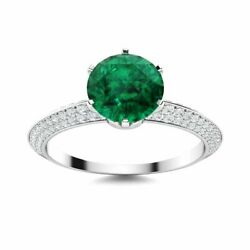 Certified Round 1.38 Carat Emerald And Diamond In 14k White Gold Engagement Ring