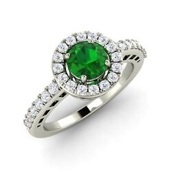 Certified Emerald And Si Diamond Engagement Ring In 14k Solid White Gold 0.74 Cts