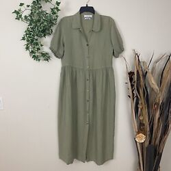Zara Woman Midi Dress M 100% Linen Button Front Size Medium Olive Green Casual