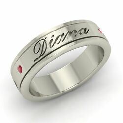 6.5mm Certified Ruby Personalized Engraved Name Menand039s Ring In 14k White Gold