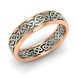 Certified Menand039s Celtic Two Tone 18k Rose Gold Wedding Band / Engagement Ring