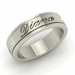 6.5mm Certified G/si Diamond Personalized Engraved Name Men's Ring In Platinum